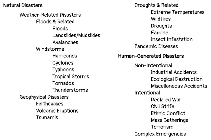 A Taxonomy of Disasters